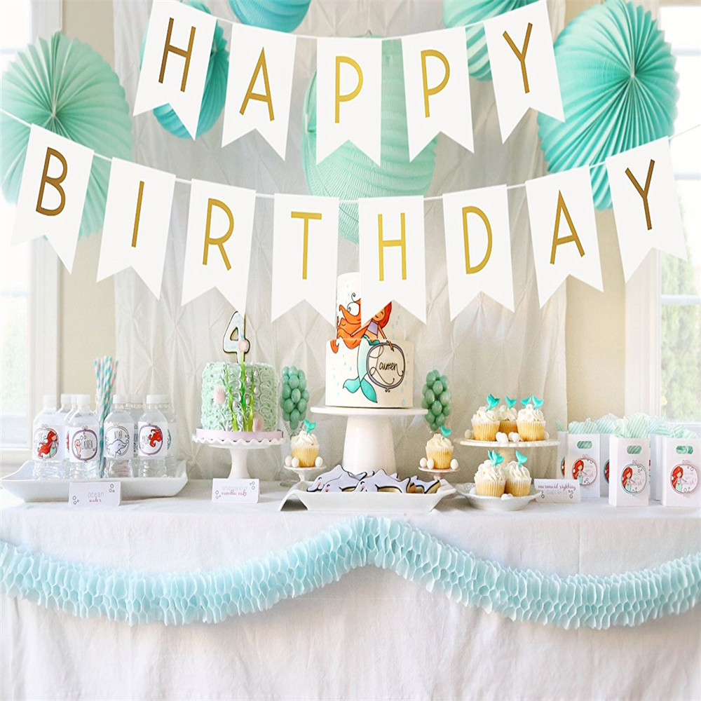 Buy 1set happy birthday photo booth prop bunting banner gold - Idee deco baby shower ...
