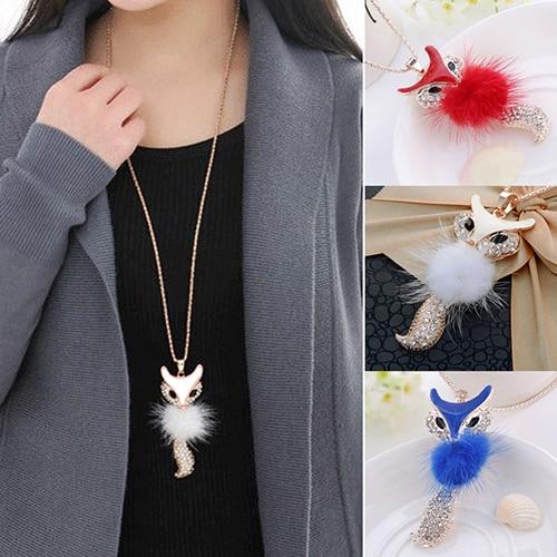 Лидер продаж, женская подвеска Стразы в виде пера, милой лисы, Длинные массивные ожерелья и подвески W