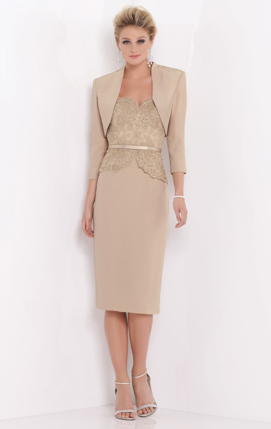 Charming Khaki Mid-Calf Mother Of The Bride Dress With Three Quarter Sleeve Jacket High Quality Mother Of The Bride Dress