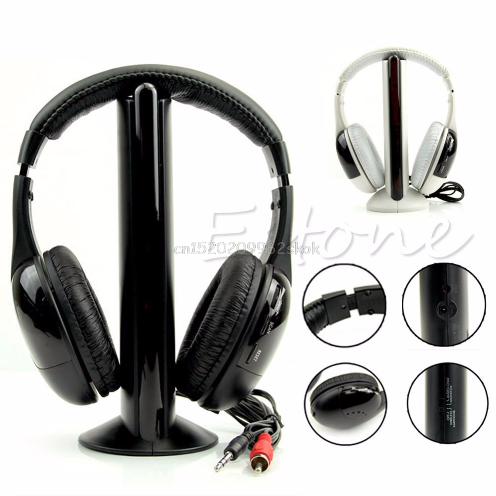 Stylish 5 in 1 Hi-Fi Wireless Headset Headphone Earphone for TV DVD MP3 PC F23 dropshipping энциклопедия таэквон до 5 dvd