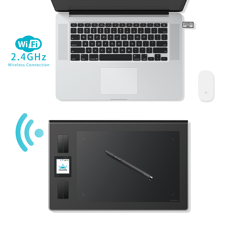 Huion DWH69 9-Inch Wireless Digital Tablet Graphics Drawing Tablets Original Art Signature Tablet Black