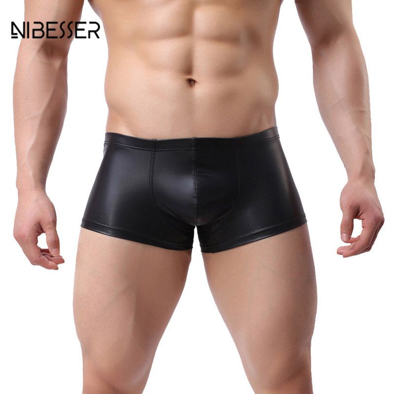 NIBESSER Four-Corner Underwear Bodysuit Faux-Leather Pouch Men's Boxer Brand Fashion