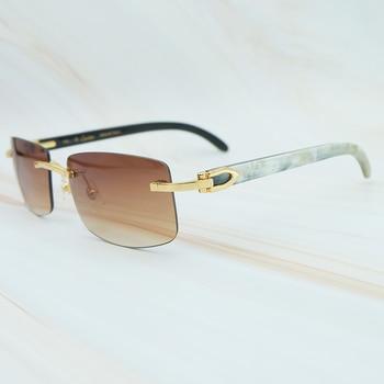 Naturaleza Buffs cuerno gafas de sol hombres nueva tendencia rectángulo mujeres gafas de sol playa conducir sombra de lujo Carter gafas de sol