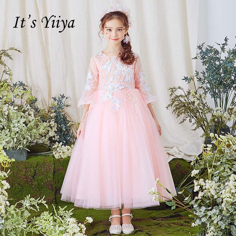 It's yiiya Illusion Ruffles Sleeves Beading Quality Elegant Child Cloth Kid   Flower     Girl     Dress   For Party Wedding   Girl     Dress   S062