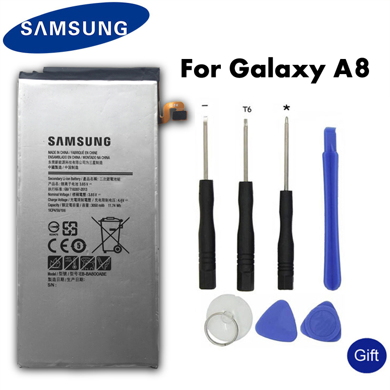 Original SAMSUNG Replacement Battery EB-BA800ABE For Samsung GALAXY A8 A8000 A800F A800S A800YZ Authentic Phone Battery 3050mAh samsung
