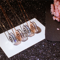 AAA Zircon Necklace Zodiac Constellation Necklace Horoscope Astrology Signs Necklace Circle Disc Necklaces