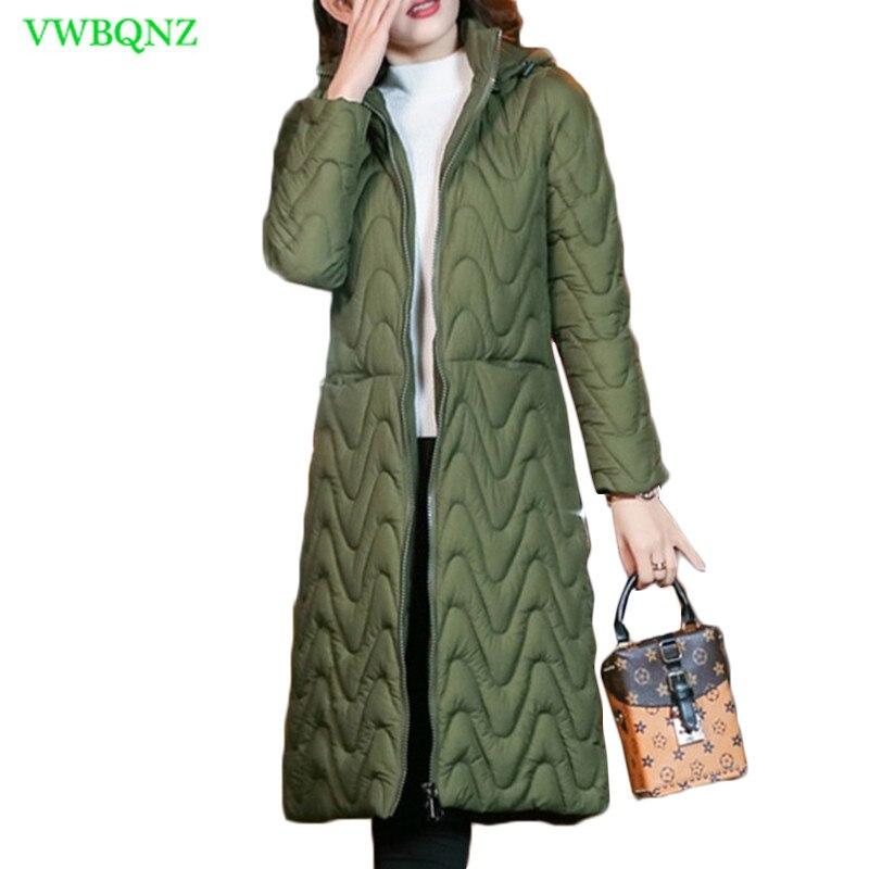 Winter Jacket Women Ladies Hooded Thick Down Cotton coat Vintage Female Long   Parkas   Slim Orange Plus size outerwear 3XL 847