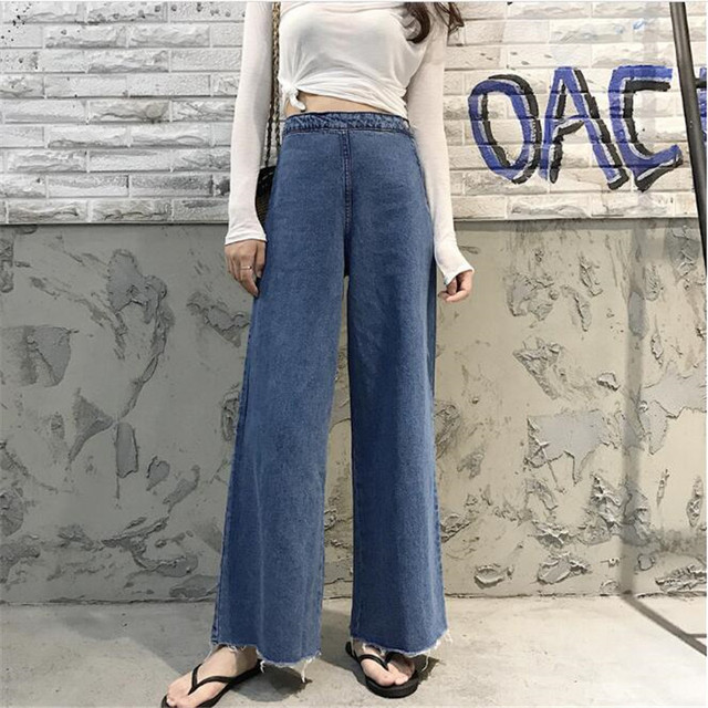 816f1cc7 Women 2019 High Wiast Denim Jean Blue Denim Pants Fashion Jeans Wide Leg  Pants European Style