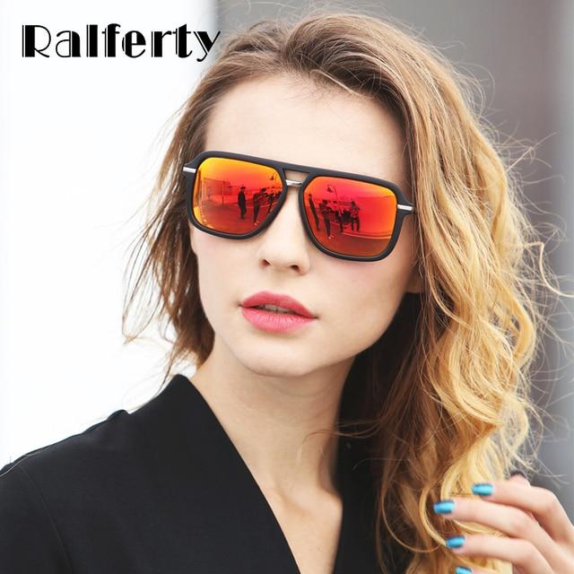 cacde55f6f2 Ralferty Polarized Sunglasses Women Men Polaroid UV400 Sun Glasses Red  Mirrored Retro Black Shades Eyewear Accessory Oculos 7032