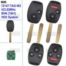 HR-V WALKLEE 72147-TAO-W2 Remoto Chave para Honda Accord Civic CR-V Fit Odyssey Introspecção Jazz Cidade 5WK49309 433.92 MHz