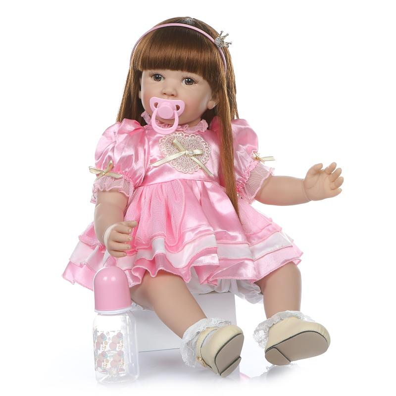 24inch Vinyl newborn babies big reborn Silicone Vinyl princess dolls children Xmas birthday presents boneca lifelike toddler