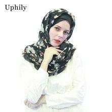 Chiffon Scarf Shawls Muslim Hijabs Female Muslim Head Coverings Spring Autumn Floral For Muslim Women Long Scarves Head Wraps