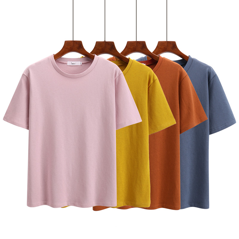 7e5d1d7cb12 100% cotton short sleeve o-neck T shirt woman Korean fashion solid color  tops plus size loose t-shirt 2018 summer yellow blue