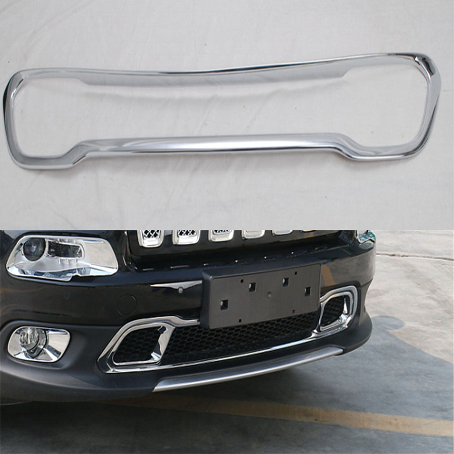 For Jeep Cherokee 2014 2016 Exterior Car Front Grill Bumper Grille Decoration Trim Frame Sticker Cover Styling