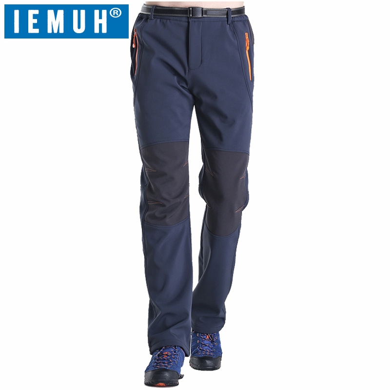 IEMUH Brand Size L-5XL Men Softshell Pants Thermal Waterproof Pants Outdoor Sports Camping Hiking Ski Pants Fleece Outdoor Pants mens winter softshell pant waterproof trousers cycling skiing hiking camping pants men soft shell fleece thermal outdoor trouser