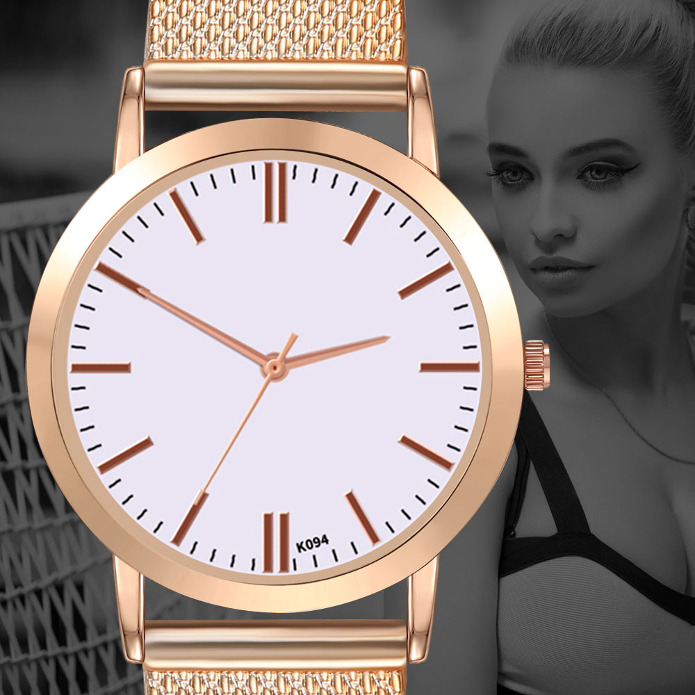 Women Stainless Steel  Watches 2019 Fashion Luxury Scale Simple Stainless Steel Dial Quartz Business Watch Reloj Mujer@9