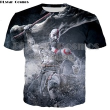 PLstar Cosmos Brand High Quality Mens Tees 3D Print T shirt God Of War Kratos Cool T-shirt Men Summer shirts Fashion Tops 5XL