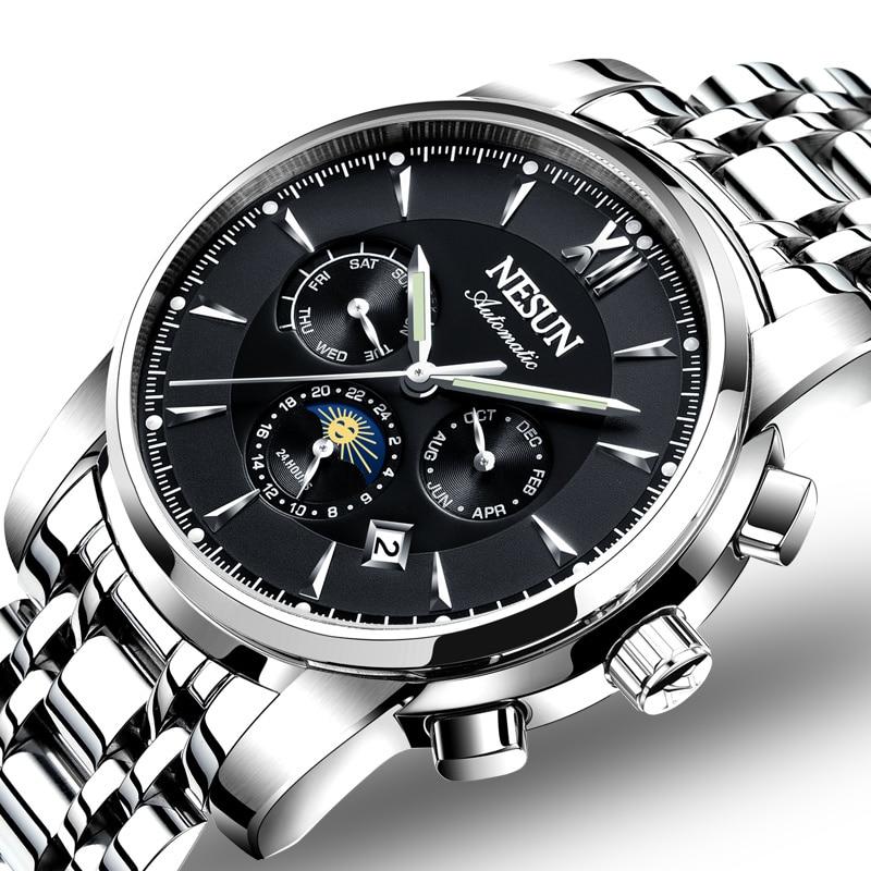 Switzerland Luxury Brand NESUN Watch Men Automatic Mechanical Watches relogio masculino Luminous Multifunctional clock N9805-1 все цены