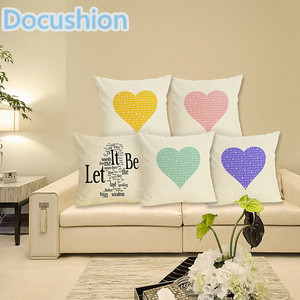 Love Print Cushion Cover Home Decor Decorative Cushion Case Throw Pillow Cover Linen Cushion for Sofa Decorative Pillows 43x43cm