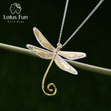 Lotus Fun Real 925 Sterling Silver Natural Handmade Fine Jewelry 18K Gold Cute Dragonfly Pendant without Necklace for Women Gift
