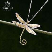 Lotus zabawa prawdziwe 925 Sterling Silver Natural Handmade Fine Jewelry 18K Gold śliczny wisiorek ważka bez naszyjnik dla kobiet prezent