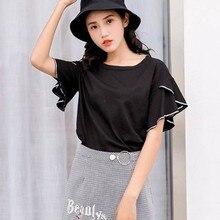 Summer T Shirt Women  New Fashion Flare Sleeve O Neck T-shirts Women Loose Casual Ruffle Tshirt Tops Korean Female Clothing цены