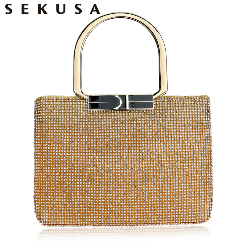 SEKUSA Rhinestones Women Evening Bag Chain Shoulder Handbags Crystal Handle Holder Purse Day Clutch Evening Wedding