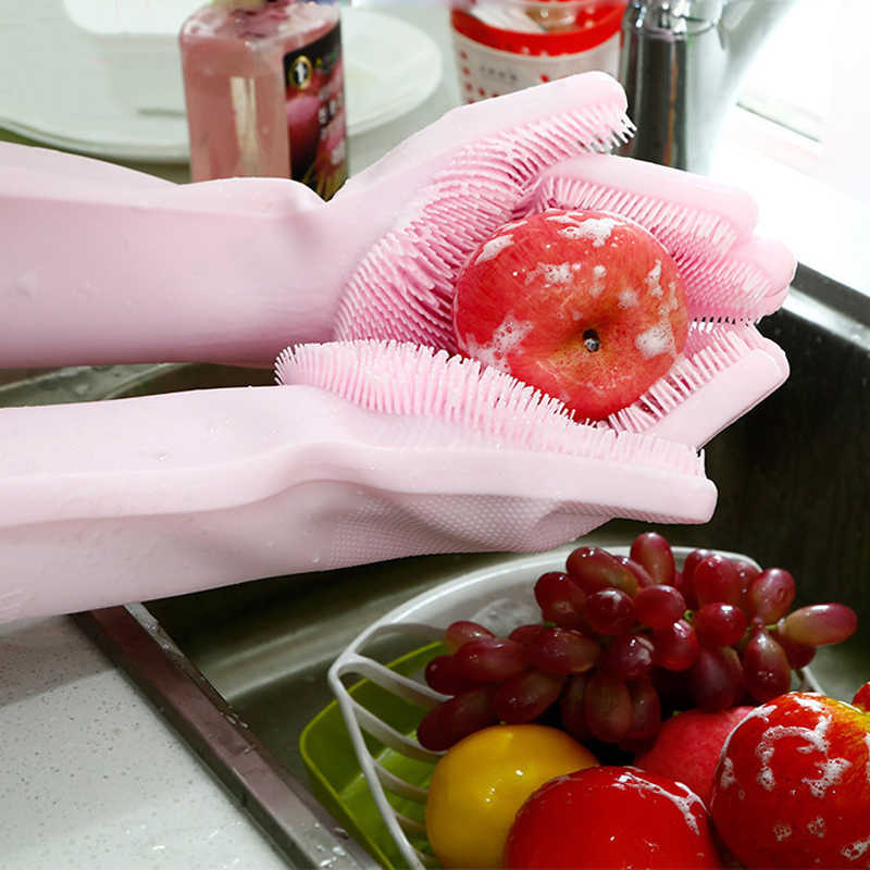 1 Pair Factory Price Household Silicone Dishwashing Gloves Kitchen Cleaning Gloves Washing Dishes Multifunctional Magic Glove