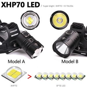 Image 3 - 7000LM USB Rechargeable LED headlamp xhp70.2 powerful Headlight XHP70 Zoom high power fishing headlamp torch Headlight Camping