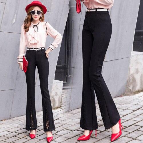 Фактический съемки пятно 2018 осень новые штаны, девять брюки, брюки, Повседневное брюки, костюмы, разделение кружево, клеш.