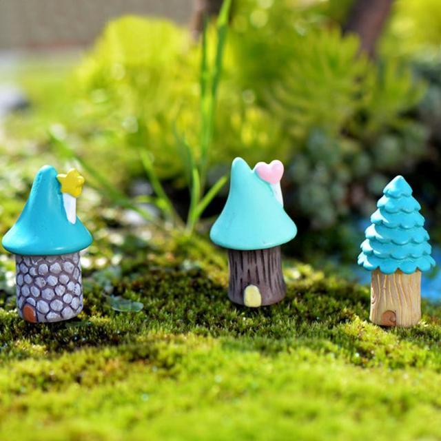 3Pcs/Set Vintage Blue House Miniature Mini Craft Fairy Garden Garden Ornaments Bonsai  Micro Landscaping Decor Accessories
