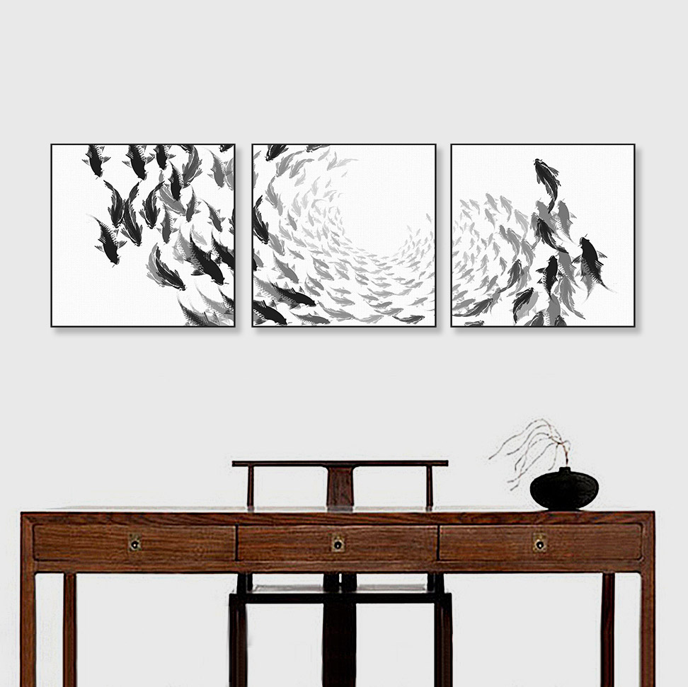Buy modern chinese ink oriental black for Black and white mural prints
