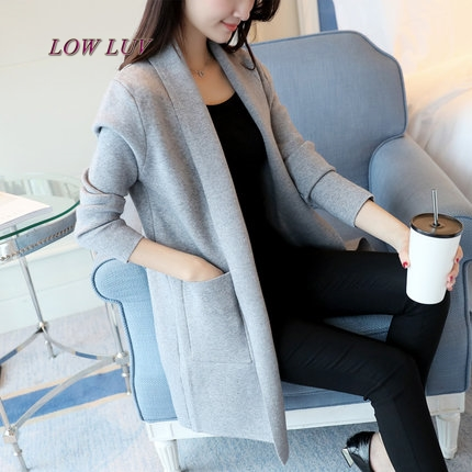 The new spring 2017 sweater female loose long sweater cardigan female