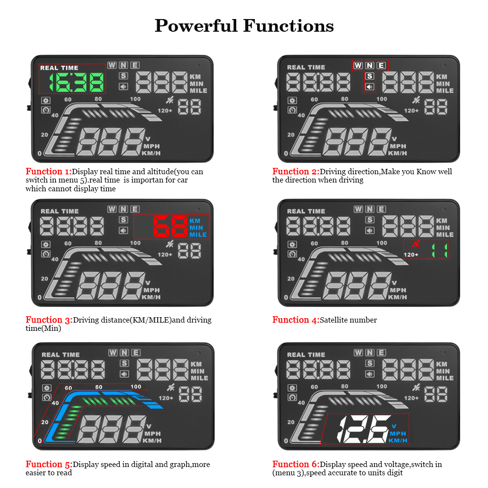 Image 3 - Auto Car HUD GPS Head Up Display HD 5.5'' Speedometers Overspeed Warning Dashboard Windshield Projector Multi Color Car Auto HUD-in Head-up Display from Automobiles & Motorcycles
