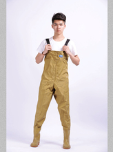 0.75mm Thickening Wading Rain Pants Fishing Raincoat Chest Waders Waterproof Fishing Clothes khaki Strong Rubber Material