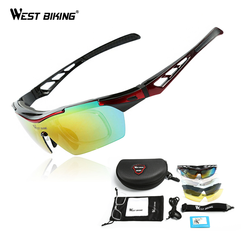 WEST BIKING Polarized Cycling Sunglasses Bike Eyewear Racing Men Women Goggle oculos Bicycle Glasses 5 Lens Cycling glasses west biking bicycle riding glasses polarized glasses mountain bike outdoor sports equipment prescription windproof glasses