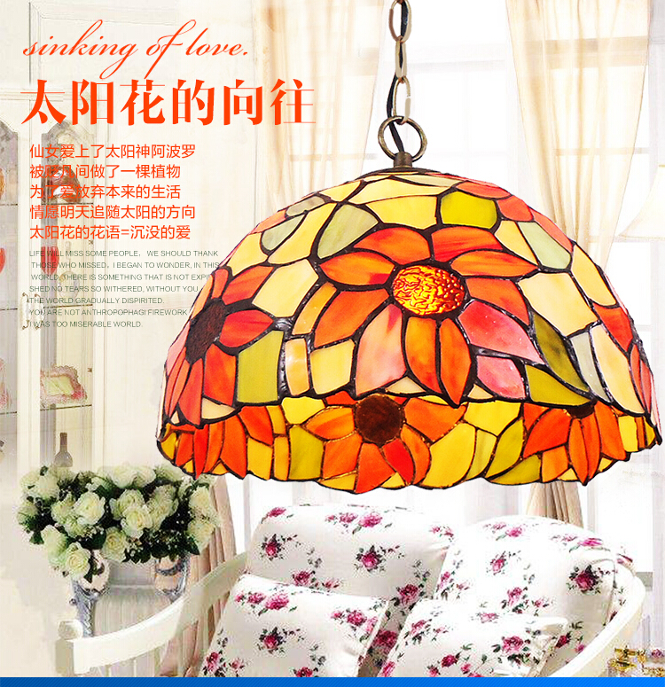 Tiffany Pendant Light Colorful Glass Cover Personalized