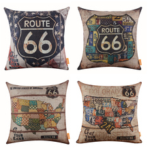 LINKWELL 18 x18 1PC Vintage American Style USA Map Route 66 National Flag Garage font b