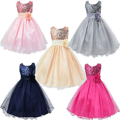 Baby Flower Girls Sequins Party Dress Occasion Gown Formal ...