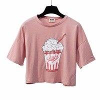 2017 Summer New Women Ice Cream T Shirt Korean Style Cotton Loose Crop Tops Kawaii T