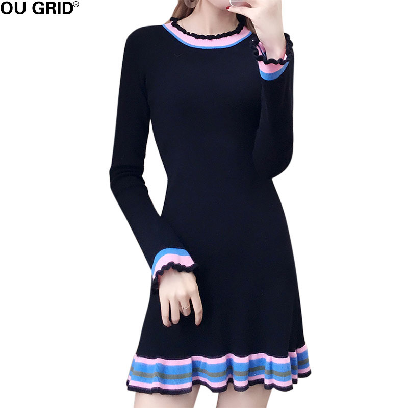 Women Ruffle Hem Casual knitted A-line Dresses Winter Slim Bottom Flare Sleeve Striped O-neck Short Sweater Dress