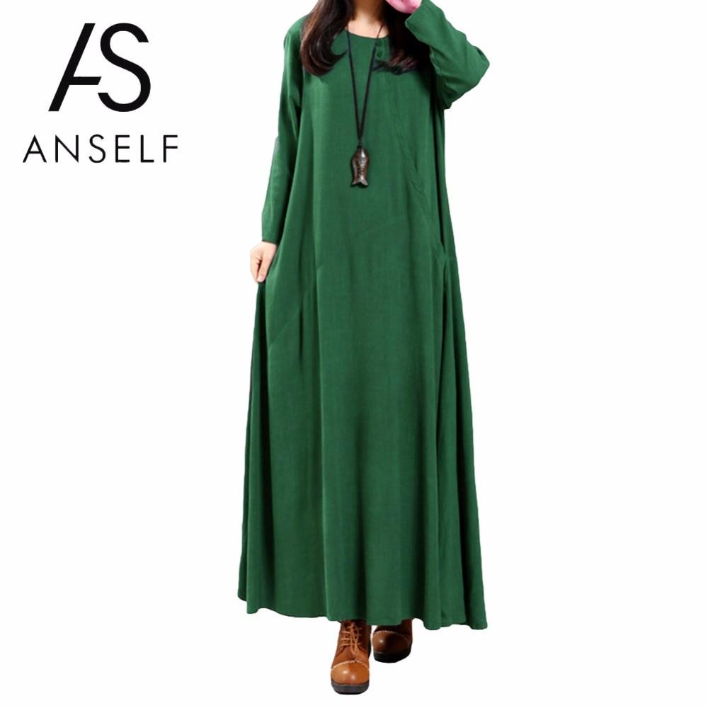 Vintage Maxi Dress 5XL Plus Size Women Cotton Dress Oversize Buttons Pocket  Irregular O Neck Long 0b680b058e0b