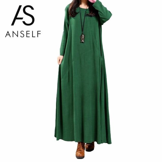 b60bf0b9890 Vintage Maxi Dress 5XL Plus Size Women Cotton Dress Oversize Buttons Pocket  Irregular O Neck Long