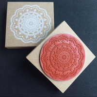 Free Shipping New Romantic Lace Flower Wooden Stamp DIY Gift Stamp Work Square Large 9X9cm
