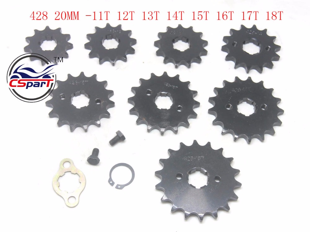 11T 12T 13T 14T 15T 16T 17T 18T 19T Tooth 428 ID 20MM Front Engine Sprocket For Motorcycle Dirt bike ATV Quad Buggy motorcycle 530 17t 43t front
