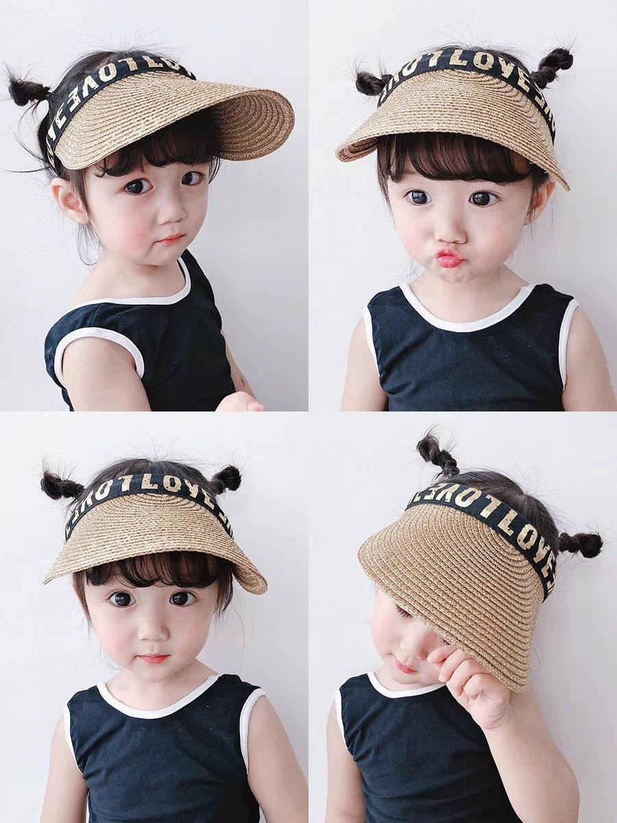 Летняя детская соломенная шляпа для мальчиков и девочек, повседневная Солнцезащитная пляжная шляпа в Корейском стиле для мальчиков и девоч...