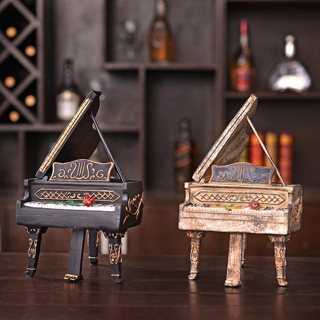 Retro Piano Model Craft Decor Resin Vintage Furniture Handicraft Hotel Bar  Home Decor Miniature Metal Resin
