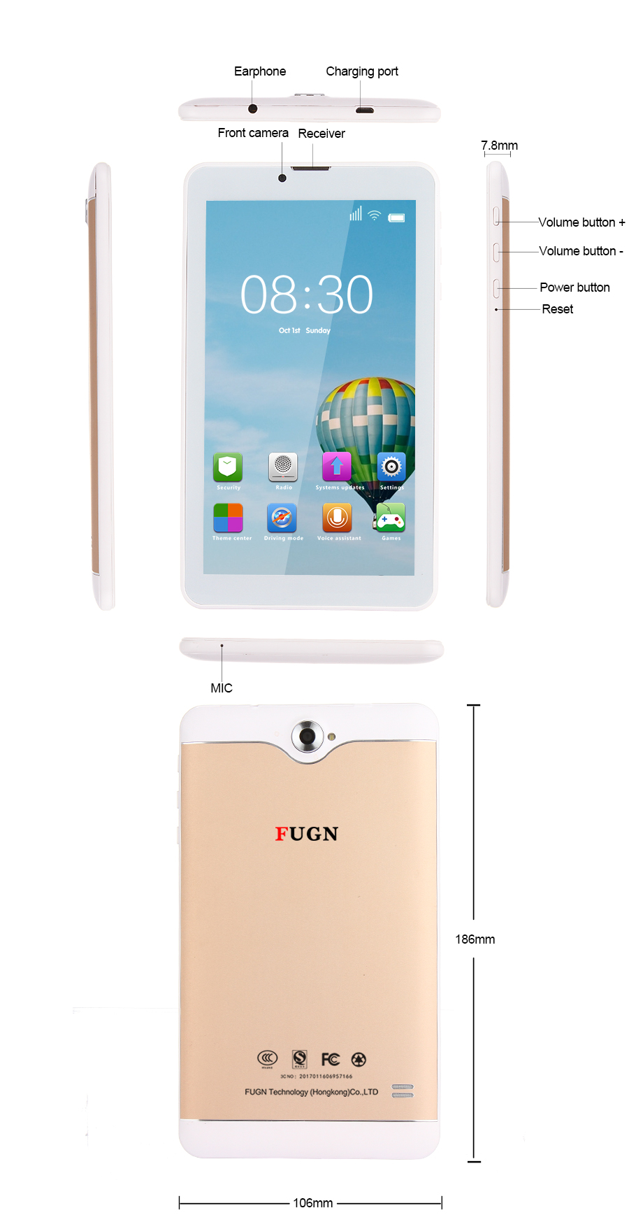 """FUGN 7 inch Tablet For Kids Tablet PC 1G RAM Android 5.1 Wifi 3G Phone Call Tablets Children Games Smart Birthday Gift 8 9.7"""""""