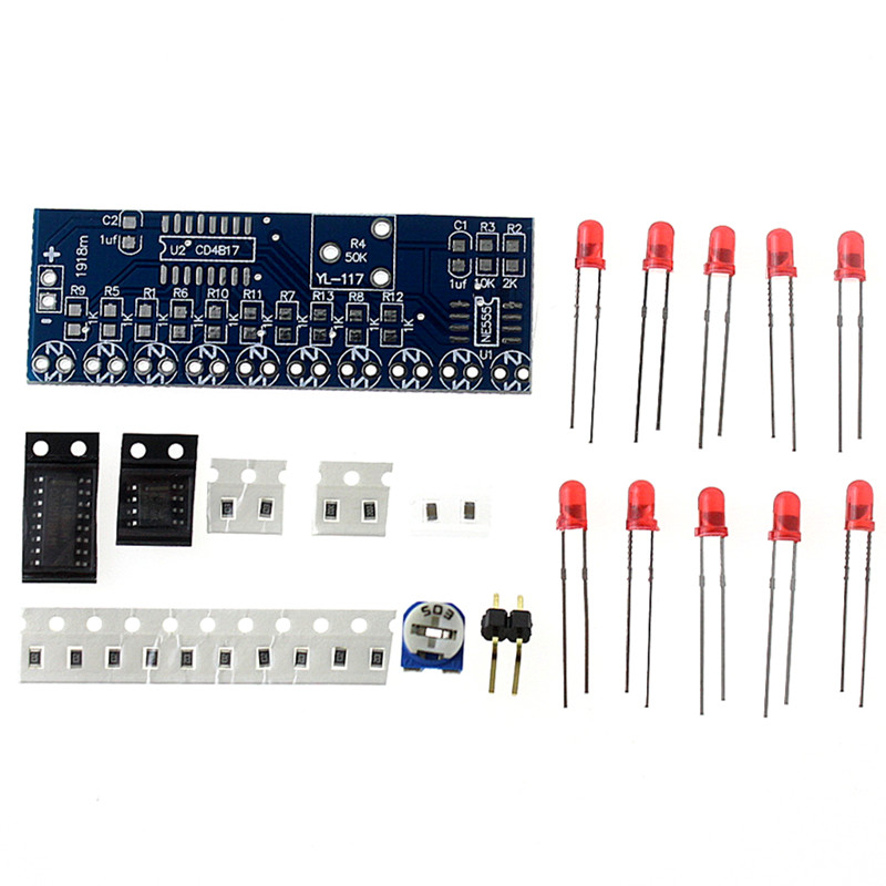 Бесплатная доставка NE555 + CD4017 Свет Вода Течет Свет СВЕТОДИОДНЫЙ Модуль DIY Kit