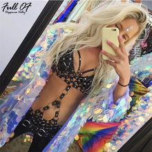 Sexy PU Hollow bodysuit women metal Body chest chain Night club Halter perspective party jumpsuit Black overalls 2018 New Hot sexy black satin mesh perspective summer bodysuit women lace up metal chain bandage jumpsuit beach party night club overalls new